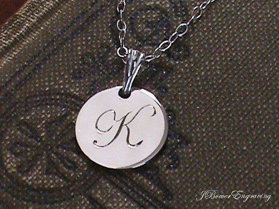 Letter K  Hand Engraved Sterling Silver by JBowerEngraving on Etsy, $33.00