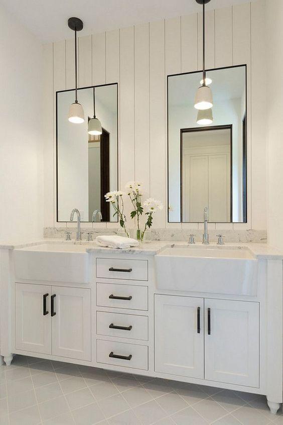 White Bathroom With Dual Cast Iron Apron Front Sinks In Vanity Bathroom Vanity Remodel Bathroom Remodel Master Modern Farmhouse Bathroom