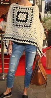 Poncho Artesanal Tejido Al Crochet Lana - $ 550,00 en Mercado Libre