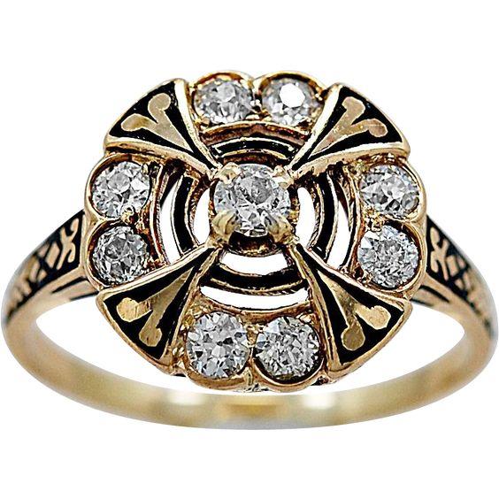 Antique Engagement Ring .60ct. T.W. Diamond, Enamel & Yellow Gold… - found at www.rubylane.com @rubylanecom