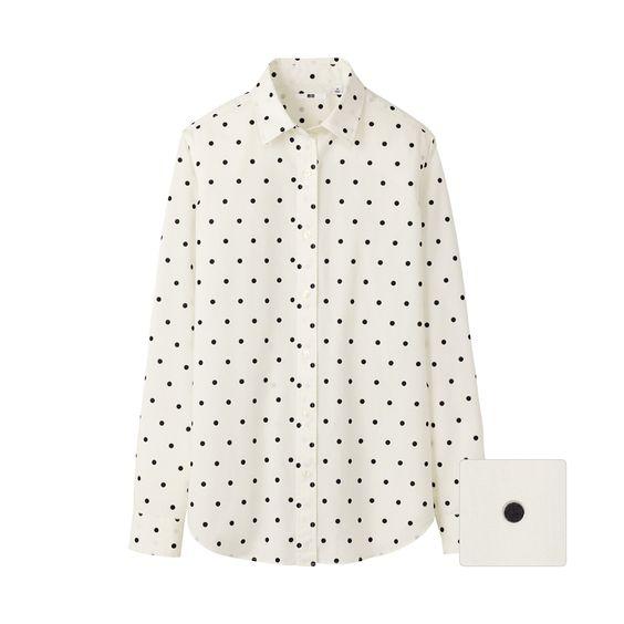UNIQLO WOMEN BROADCLOTH PRINT LONG SLEEVE SHIRT - $29.90: Dot Shirts, Polka Dots, Broadcloth Print, Long Sleeve Shirts, Style Inspiration, Uniqlo Dots, Polka Dot Shirt