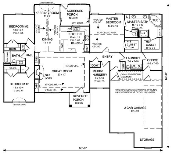 Office = Studio.  great layout for studio placement   Ranch House Plan ID: chp-23450 - COOLhouseplans.com