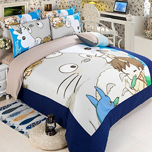 bedding set 100 cotton cute totoro duvet cover set kids bedding set