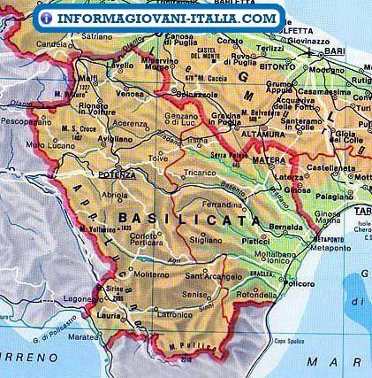 Basilicata Cartina Confini.Mappa Della Basilicata Cartina Della Basilicata Mappa Luoghi Di Vacanza Geografia