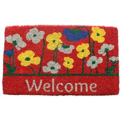 Entryways Poppies Welcome 18 in. x 30 in. Hand Woven Coconut Fiber Door Mat-1034S - The Home Depot