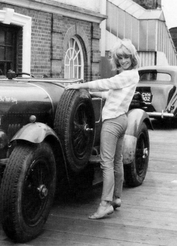 Julie Christie and her co-star, a 1927 Bentley 3/4½, on location of the 1962 Ken Annakin film 'The Fast Lady', in which she portrays 'Claire Chingford', the daughter of Commander Charles Chingford, brilliantly portrayed by James Robertson Justice.