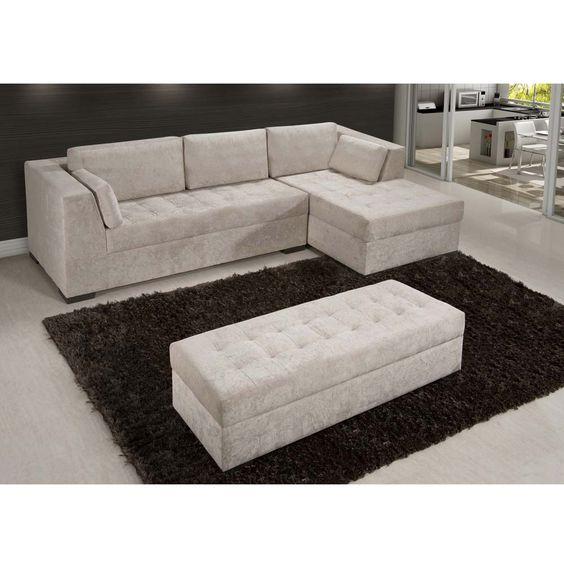 Sof 3 lugares american comfort pamplona com chaise e puff for Sofas com chaise e puff