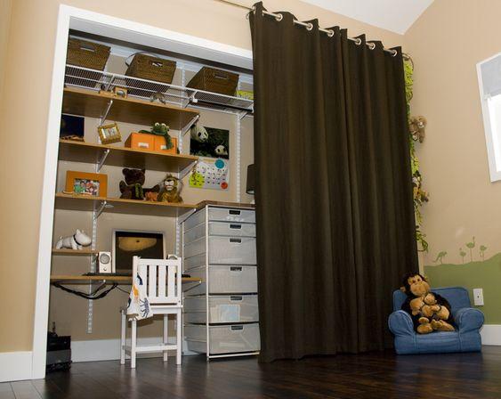 Toddler's Closet - love the organization and mini-desk for this little guy! #closet #bigboyroom #organization