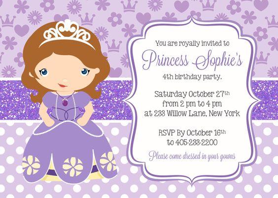 Princesa Sofia invitación, invitación de la fiesta de princesa, Sofía la primera invitación, princesa Birthday PRINTABLE de SugarPickleParty en Etsy https://www.etsy.com/es/listing/185601332/princesa-sofia-invitacion-invitacion-de