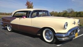 Phyllis Teague are still enjoying the 1956 Olds that Phyllis' parents bought new in Muncie, Ind., in April of 1956.