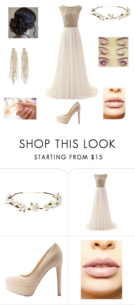 """""""Gold and Ivory"""" by anonymous4evah ❤ liked on Polyvore featuring Cult Gaia, Qupid, LASplash, Charlotte Russe, women's clothing, women's fashion, women, female, woman and misses"""