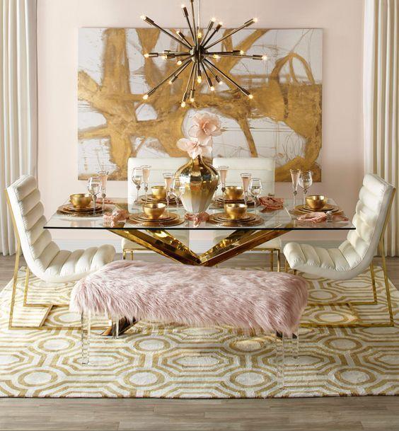 10 Elegante Und Schicke Möglichkeiten Golddekor Zu Verwenden Gold Dining Room Pink Dining Rooms Dining Room Decor