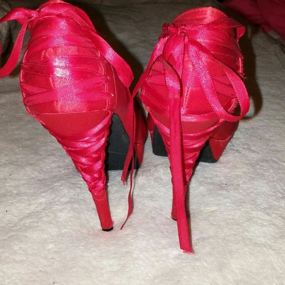 Heels Red lace up Shoes Heels