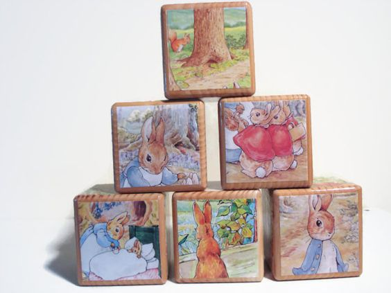 Peter Rabbit 3 1/2 inch Blocks / Book Blocks by BlockPaperScizzors, $25.00. Just lovely pictures and the work is perfection.