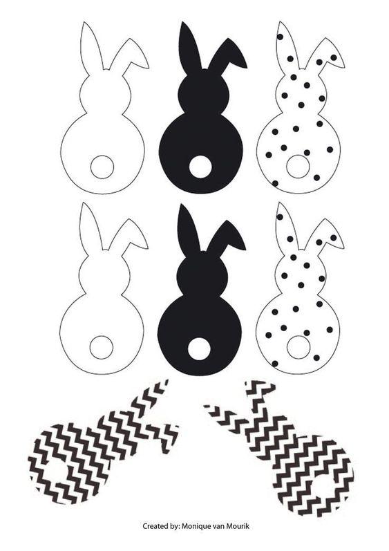 Ostern-Girlandenhasen Schwarzweiss-Cheveron-Punkt. Machen Sie kleine Schwänze  #cheveron #girlandenhasen #kleine #machen #ostern #punkt #schwarzweiss