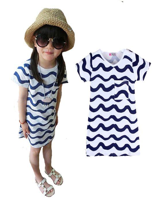 girl dress striped princess dresses for girls princess clothes wave 2016 summer new blue stripe pocket kids girl princess dress