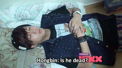 VIXX, Ravi, Hongbin And this is why he's my bias... He's a dead weight sleeper~