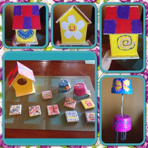 Diy bird house, wind chime & tile magnets #mothersdaygifts