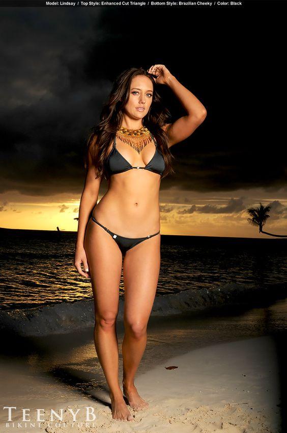 Lindsay in a black Brazilian bikini