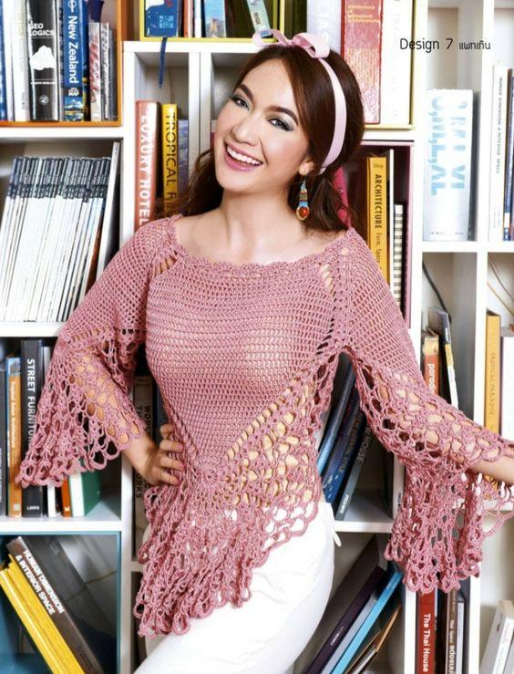 pattern croché  Patrones Crochet: Jersey Tejido de Increible Belleza Patron