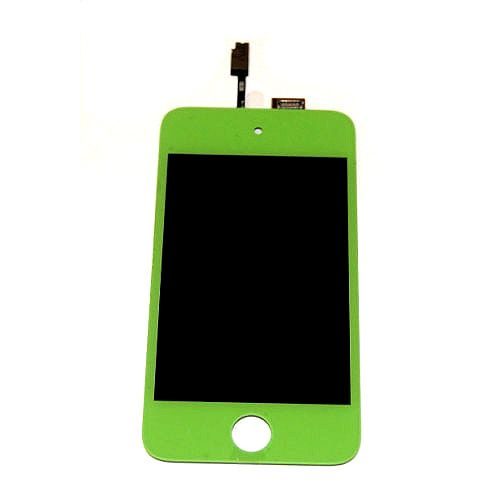 Green iPod Touch 4 Front LCD display assembly - Using ipod touch 4g screen replacement to Repair old, broken, cracked, damaged faulty screen, ipod 4 screen replacement will also cure: display problems, dead pixels, cracked ipod 4g screen, wrong color issues. and ipod touch screen replacement cost u only 32USD