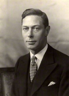 George VI (1895-1952), father of Queen Elizabeth II.  He became king unexpectedly when his brother Edward VII abdicated to marry Wallis Simpson.  He had a terrible stammer, but nevertheless gave speeches and radio broadcasts.  A heavy smoker, he had a lung removed when a malignant tumor was discovered.  He died of coronary thrombosis at the age of 56.  His wife, the Queen Mother, outlived him by 50 years.: