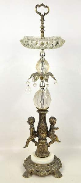 Antique Crystal Ashtray Stand Cupids Glass