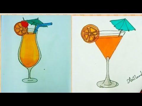 رسم عصير البرتقال بطريقه سهله وجميل خطوه بخطوه للمبتدئين How To Draw Orange Juice Glass Youtube Art