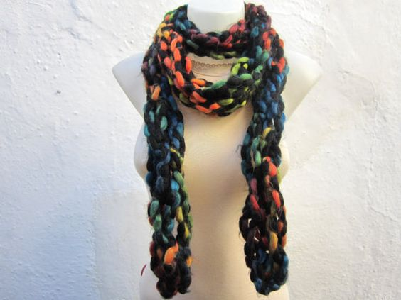 Scarf   Necklace scarf  Colorful  Long  winter  by nurlu on Etsy, $20.00