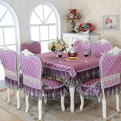 Kitchen 5 7 Piece Luxury Table Cloth Set Imitated Silk Lace