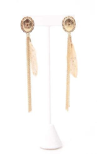 Long Earring with Chain Fringe and Feather