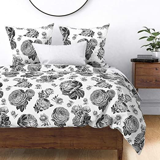 Pink Roses Dark Floral Flowers On Black 100/% Cotton Sateen Sheet Set by Roostery