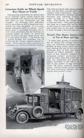 Luxurious Stable on Wheels Speeds Race Horses to Tracks (Oct, 1924)