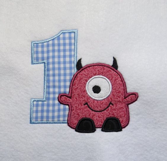 One Eye Monster 1st Birthday Embroidery by LMTEmbroideryDesigns