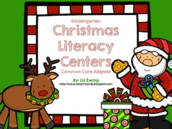 Christmas Literacy Centers for Kindergarten.  All six centers are Common Core Aligned and include printables to reinforce the skill.