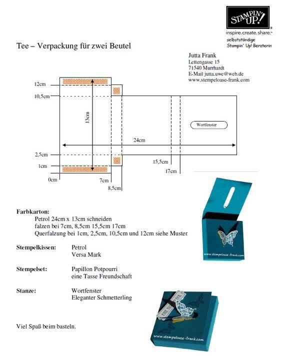 Stempeloase Frank - Stampin Up! - für Bastel- und Stempel-Freunde - Tee-Verpackung für zwei Teebeutel