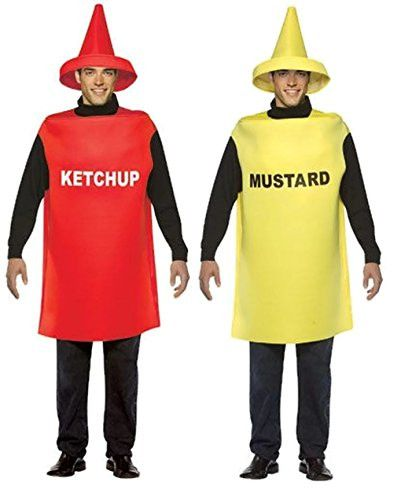 ketchup and mustard bottle adult couples costumes bottle other and hot dogs. Black Bedroom Furniture Sets. Home Design Ideas