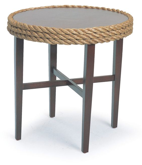Nautical rope side table mahogany wood top beach for Nautical coffee table
