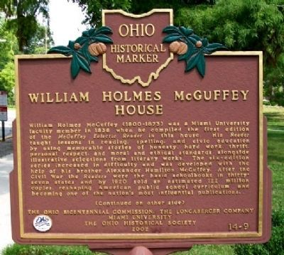 William Holmes McGuffey House Marker (Side A) Photo, Click for full size