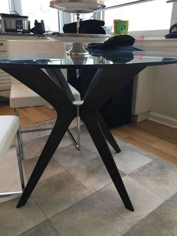 42 inch Round Glass Dining Table with Wood Base | eBay