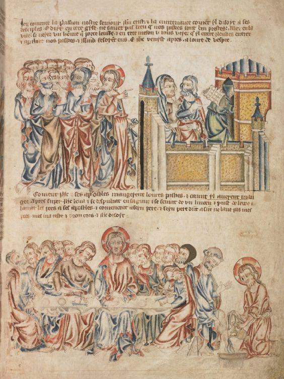 Христос с учениками у городских врат. Тайная вечеря. Омовение ног ; Англия; XIV в.; памятник: Библия (Bible ('Holkham Bible Picture Book'). 1327-1335гг.