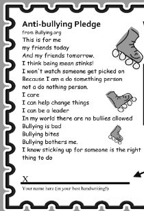 Worksheet Printable Bully Story For Kids anti bullying pledge 8pm free admission with signed card print it and pinterest car
