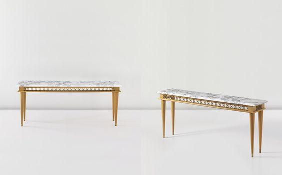 JEAN ROYÈRE Pair of rare consoles, circa 1948  Marble, cherry wood, brass (2). Each: 90.5 x 209.5 x 42.5 cm (35 5/8 x 82 1/2 x 16 3/4 in)