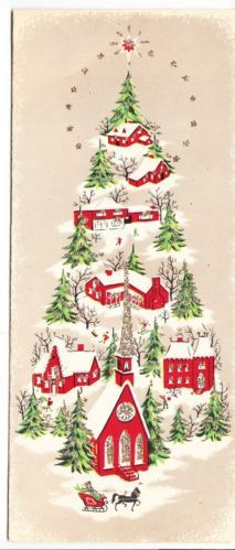 Vintage Glittered Village in Shape of Christmas Tree Greeting Card