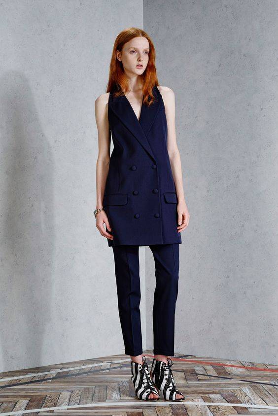 Viktor & Rolf | Resort 2015 | 19 Navy waistcoat and cropped trousers