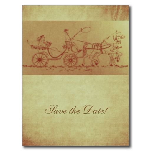 SAVE THE DATE card matching rustic vintage horse and carriage wedding invitation