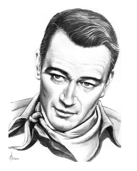 Drawing Drawing - John Wayne by Murphy Elliott