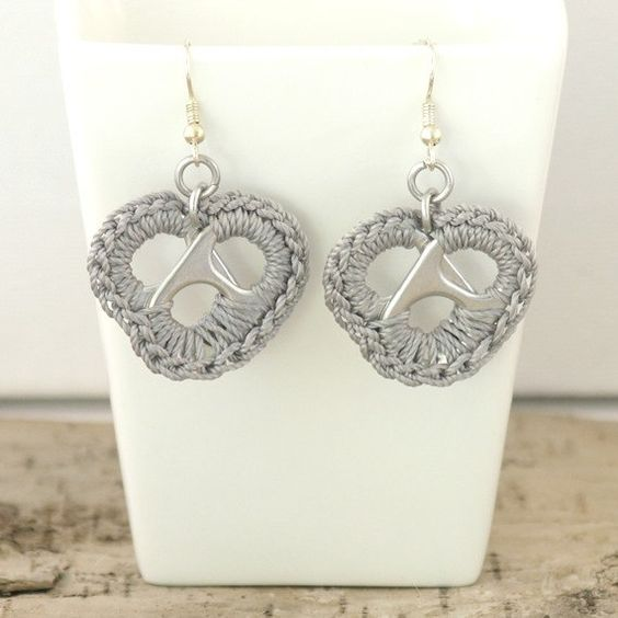 grey metal heart earrings  pair crochet pop tabs by tabsolute, $10.00