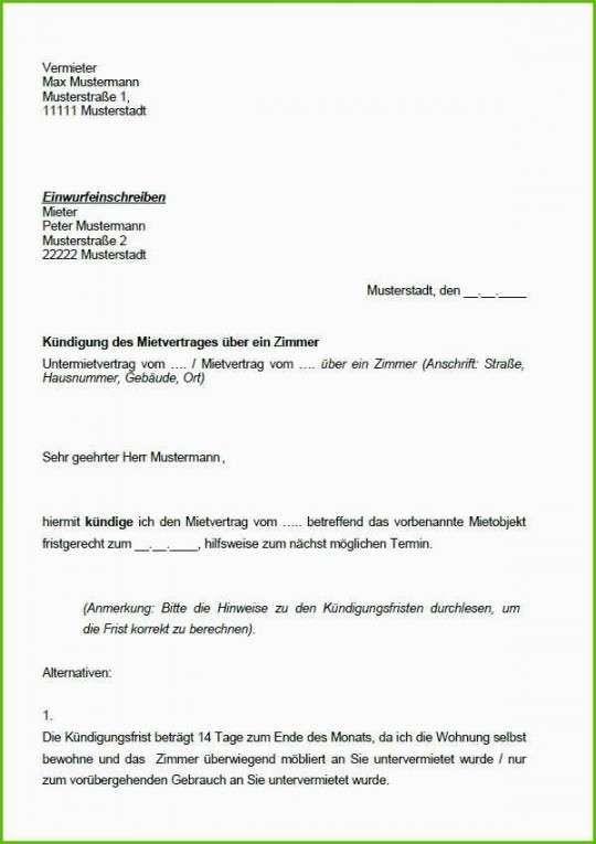 Authentisch Schriftliche Kundigung Wohnung Vorlage Vorlagen Word Vorlagen Kundigung