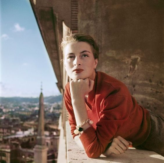 beautiful Rome, beautiful 1951 French actress Capucine, wearing a lovely persimmon-colored sweater: Balcony Rome, Magnum Photos, Robert Capa, 1951 Photo, Capucine French, French Models